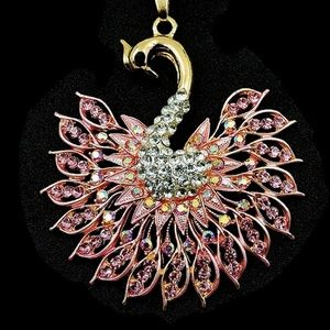 Statement Pink Peacock Pendant NWT-